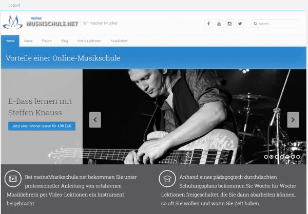 Screenshot von meineMusikschule.net - die zweite Version der Webseite
